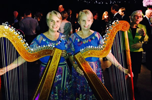 Margaret and Rosemary on the harp